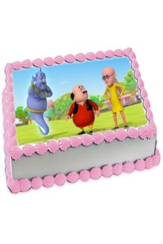 Funnel; cake shoing image of motu patly characters cakes' print